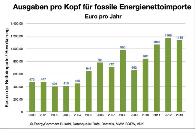 Pro-Kopf-Ausgaben für fossile Energieimporte